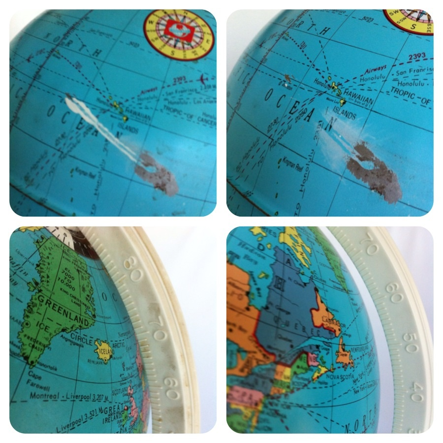 vintage globe before and after