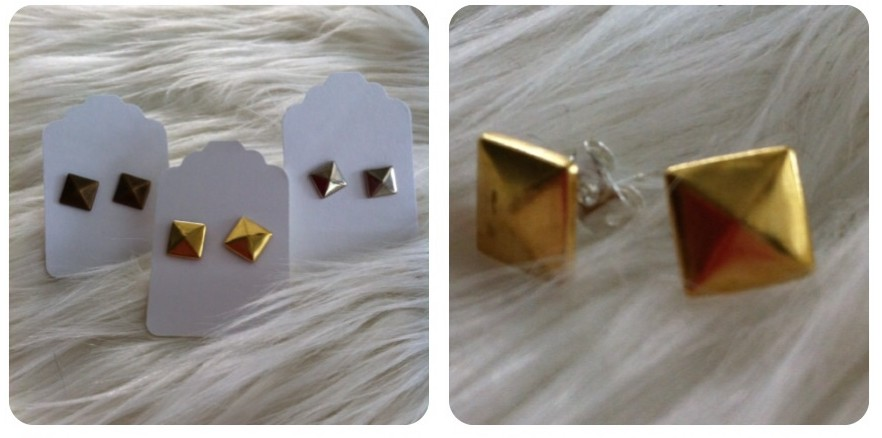 Pyramids stud earrings DIY