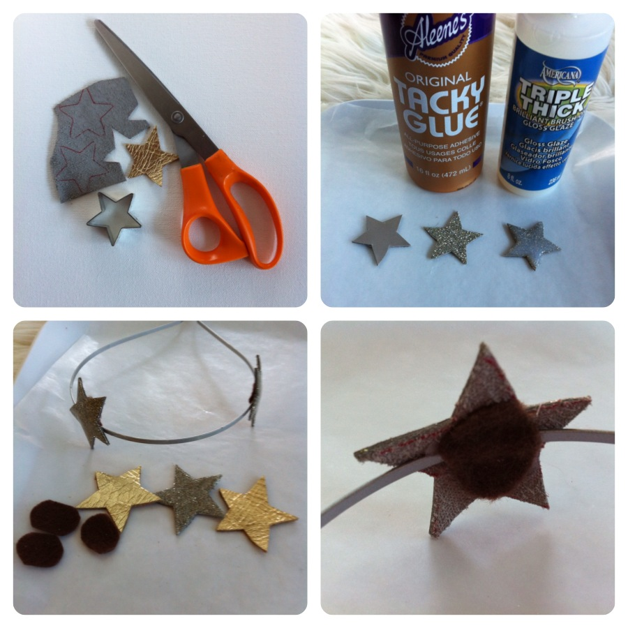 leather glitter star hairband