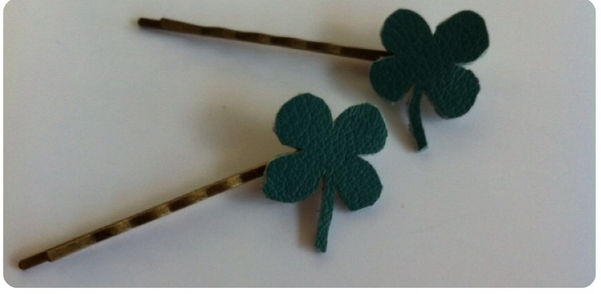 leather clover hairpins